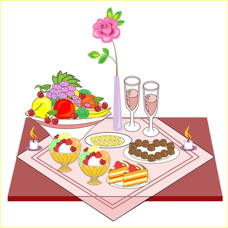 Grupo romântico da tabela para dois amantes Vinho delicioso, doces, doces, frutos - tudo para um humor maravilhoso As velas de qu ilustração do vetor