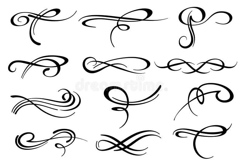 Grupo romântico do vetor da decoração do flourish do redemoinho caligráfico vitoriano ilustração stock