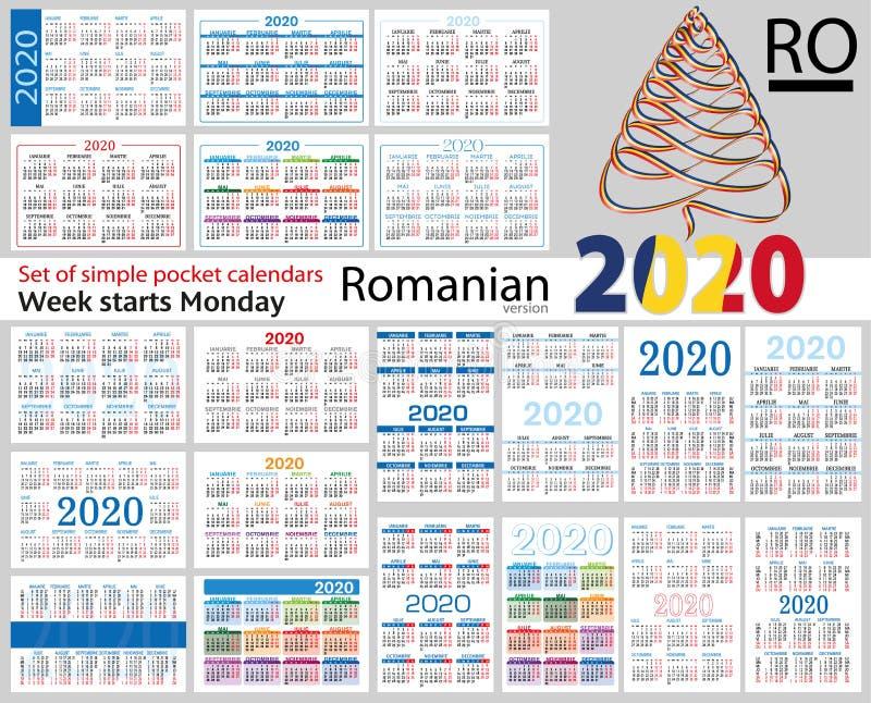 Grupo romeno de calendários do bolso para 2020 ilustração royalty free