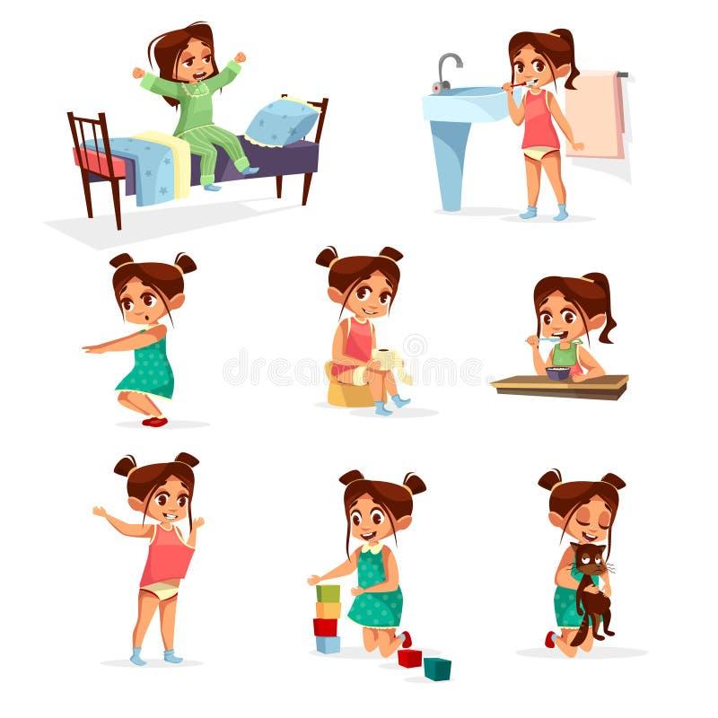 Grupo rotineiro diário da atividade da menina dos desenhos animados do vetor ilustração do vetor