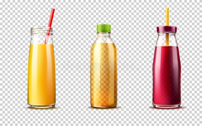Grupo roxo da garrafa de vidro do suco de laranja do vetor 3d ilustração stock