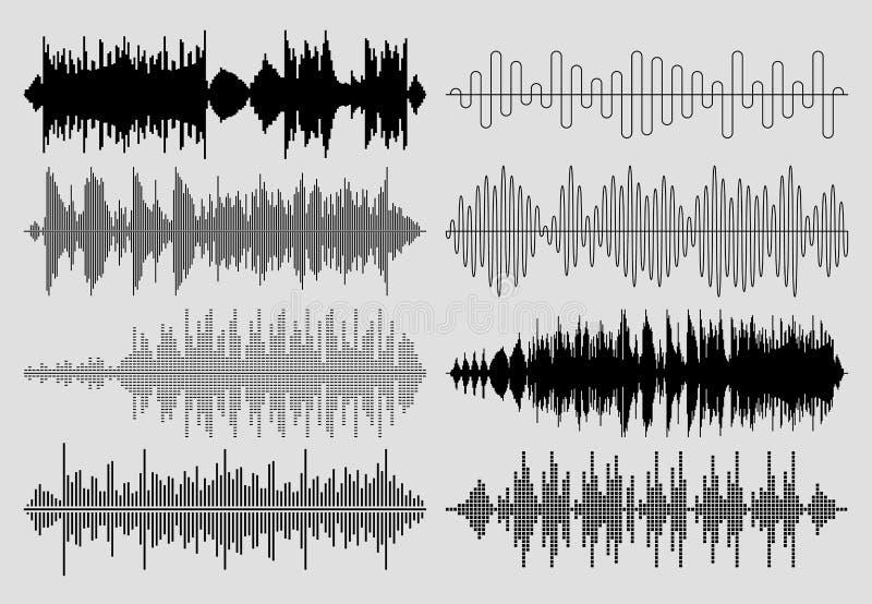 Grupo sadio do vetor de ondas da música Pulso musical ou cartas audio ilustração stock