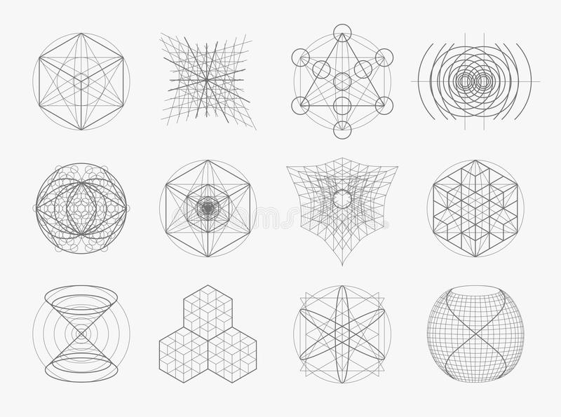 Grupo sagrado dos símbolos e de elementos da geometria ilustração stock