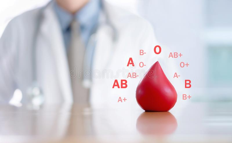 Grupo sanguíneo doe//doutor/conceitos imagem de stock