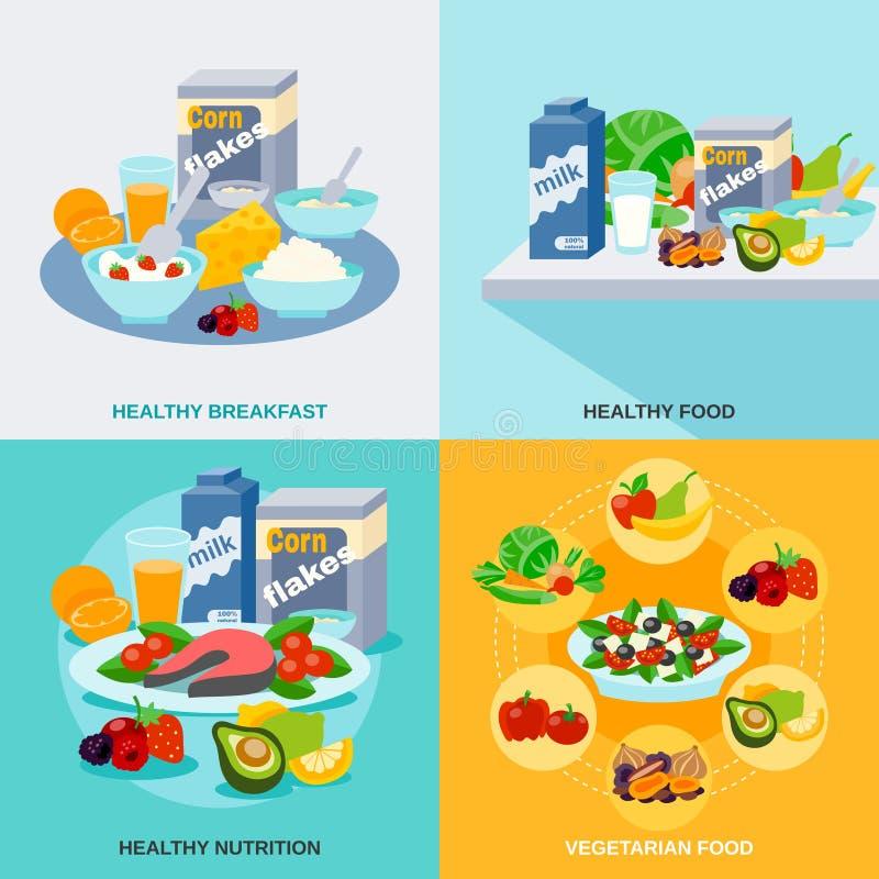 Grupo saudável do plano do alimento ilustração stock
