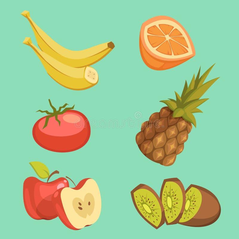 Grupo saudável dos desenhos animados do alimento ilustração royalty free