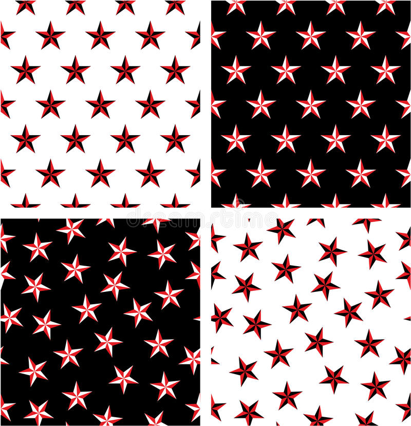 Grupo sem emenda alinhado & aleatório da estrela náutica da cor vermelha & preta do teste padrão ilustração do vetor