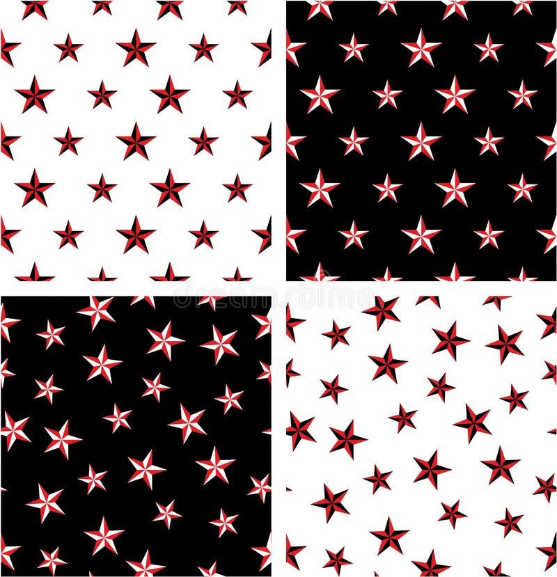 Grupo sem emenda alinhado & aleatório grande & pequeno da estrela náutica da cor vermelha & preta do teste padrão ilustração stock