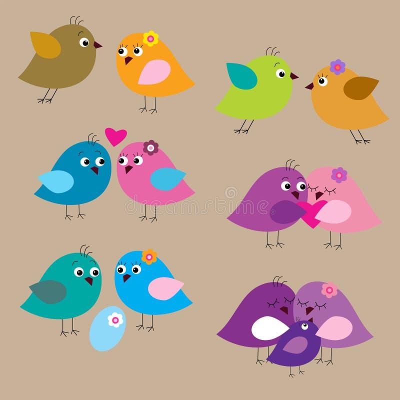 Grupo sem emenda com os pássaros e os pintainhos fascinados bonitos ilustração royalty free