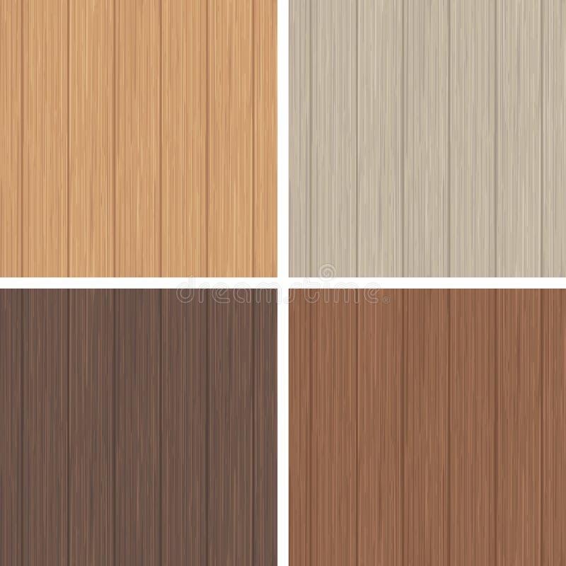 Grupo sem emenda de madeira do teste padrão Textura de madeira do marrom claro e escuro ilustração stock