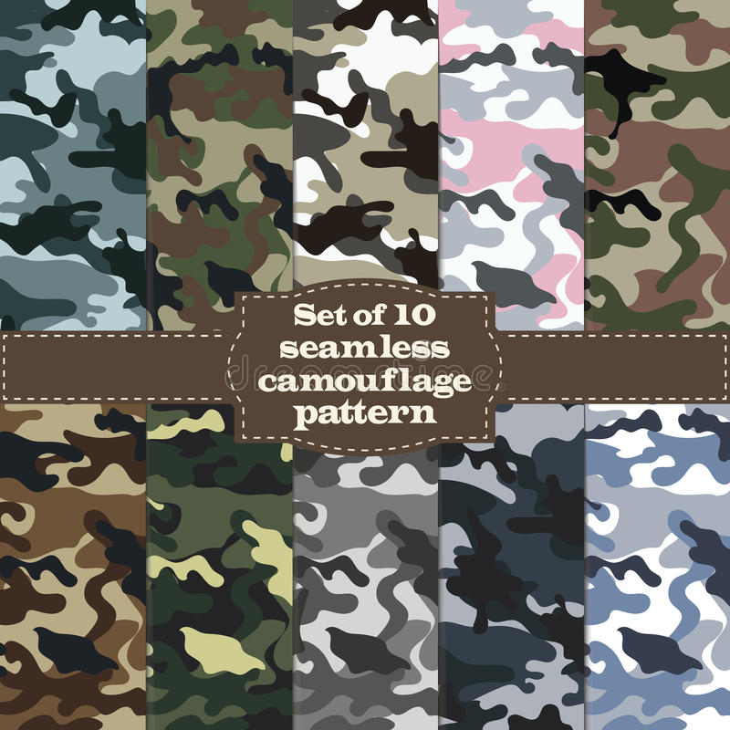 Grupo sem emenda de teste padrão da camuflagem ilustração stock