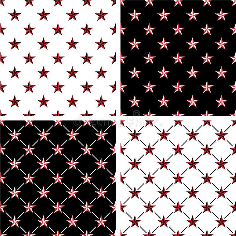 Grupo sem emenda do teste padrão da estrela náutica vermelha & preta da cor ilustração royalty free