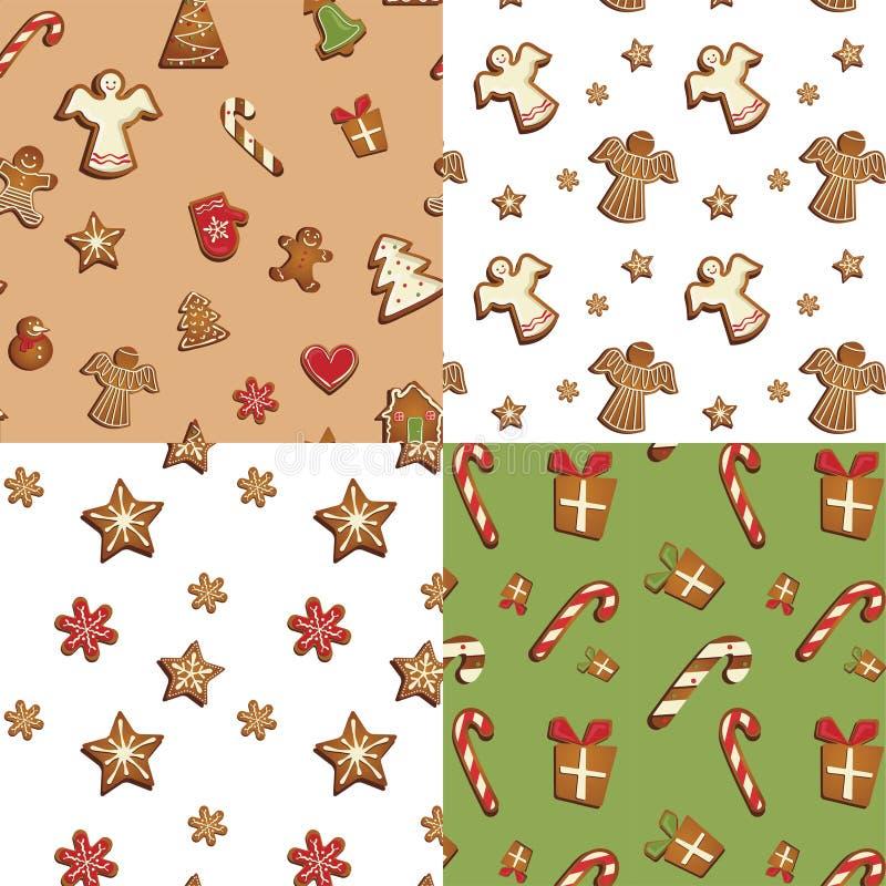 Grupo sem emenda do teste padrão das cookies do pão-de-espécie ilustração stock