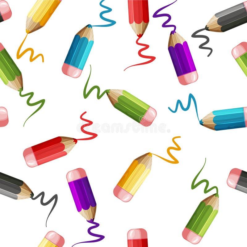 Grupo sem emenda do teste padrão dos desenhos animados de lápis de madeira coloridos ilustração do vetor