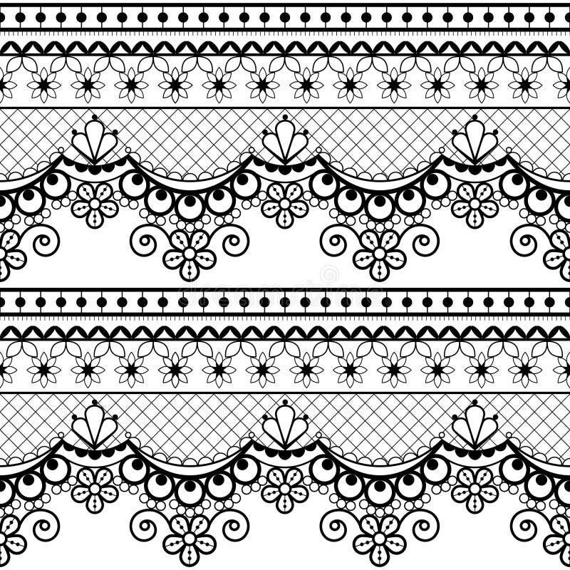 Grupo sem emenda francês ou inglês do laço do casamento do teste padrão, projeto repetitivo decorativo preto com flores - projeto ilustração do vetor