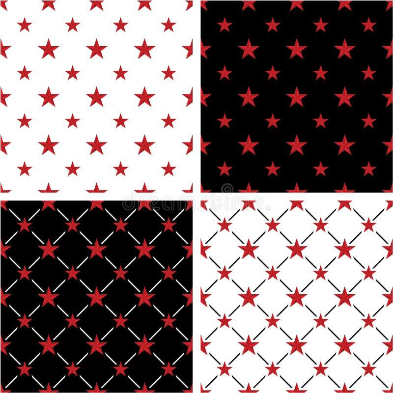 Grupo sem emenda grande & pequeno da estrela náutica da cor vermelha do teste padrão ilustração do vetor