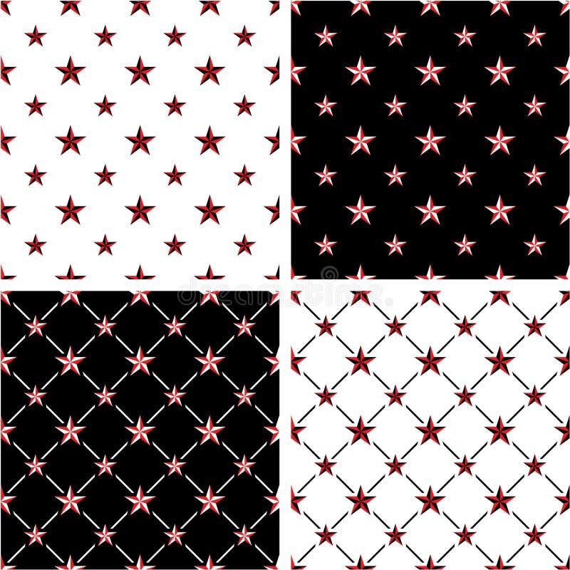 Grupo sem emenda grande & pequeno da estrela náutica da cor vermelha & preta do teste padrão ilustração stock