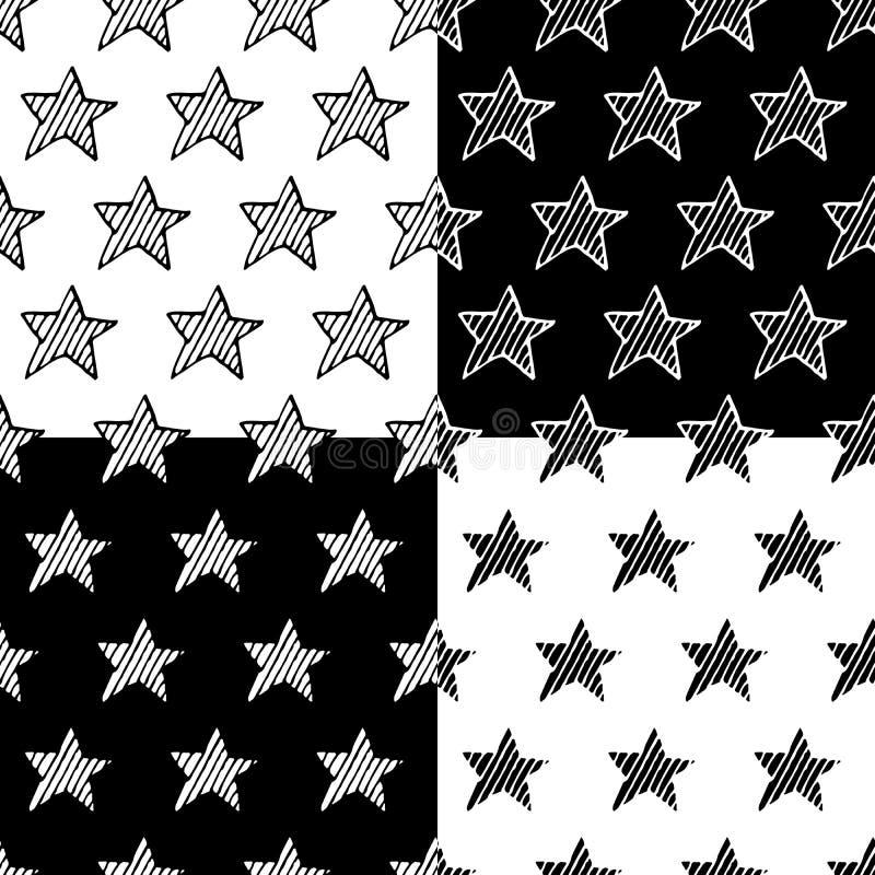 Grupo sem emenda tirado mão do teste padrão do vetor das estrelas ilustração do vetor