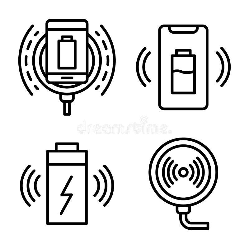 Grupo sem fio dos ícones do carregador, estilo do esboço ilustração stock