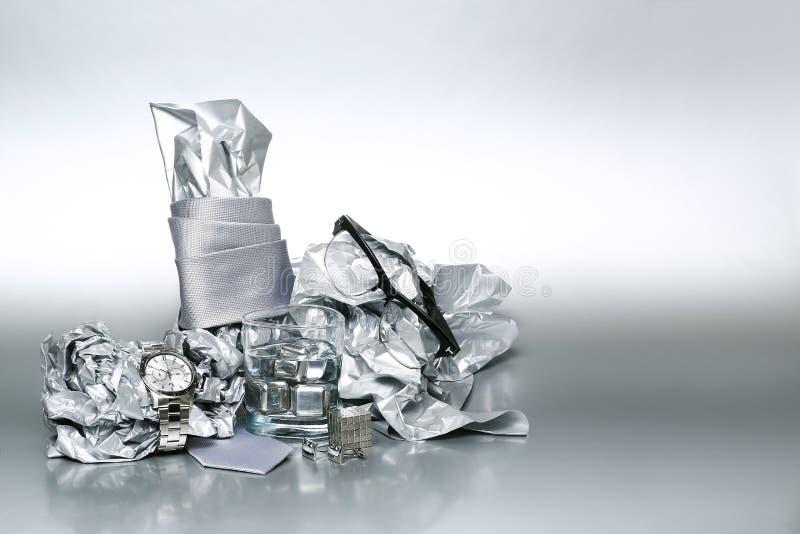 Grupo 'sexy' e elegante, acessórios de prata para o homem de negócio X imagem de stock