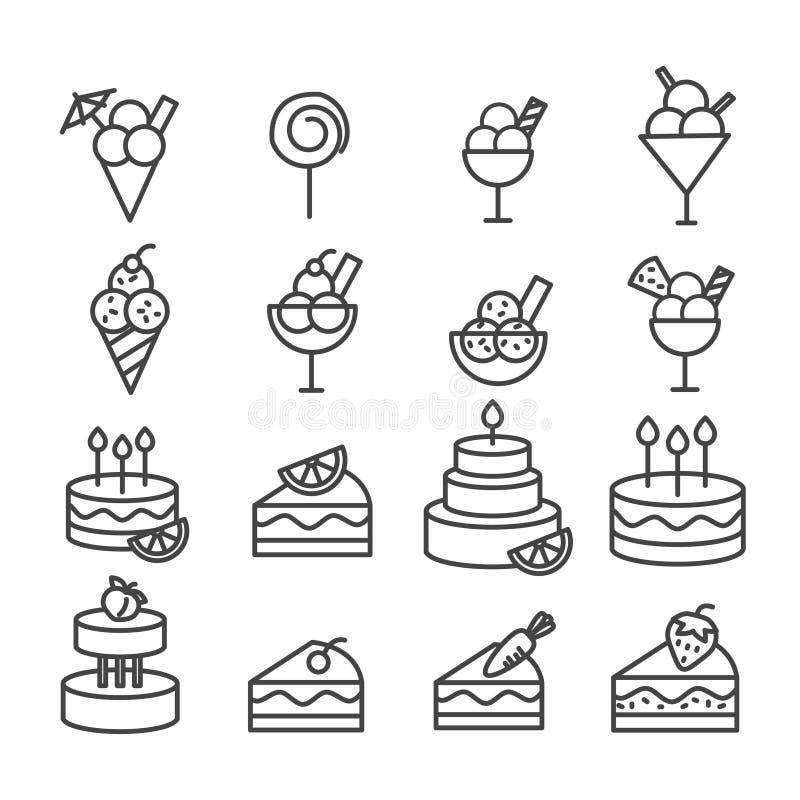 Grupo simples de ícone mínimo do gelado e do bolo isolado Esbo?o moderno no fundo branco ilustração stock