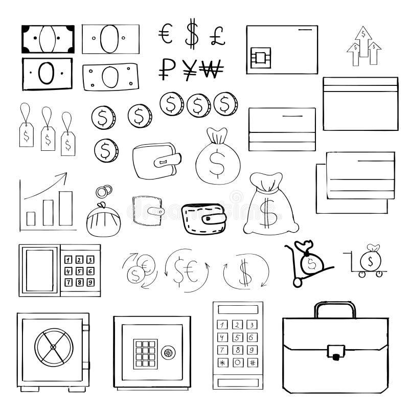 Grupo simples de ícones relacionados do vetor do dinheiro para seu projeto Estilo desenhado à mão ilustração royalty free