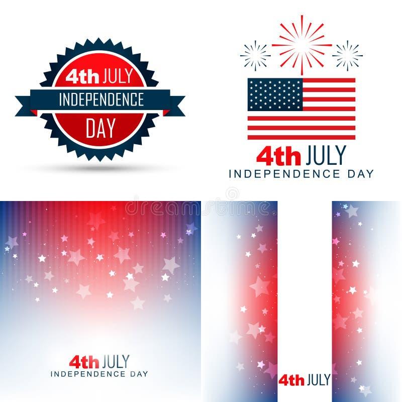 Grupo simples de ilustração americana do fundo do Dia da Independência ilustração do vetor