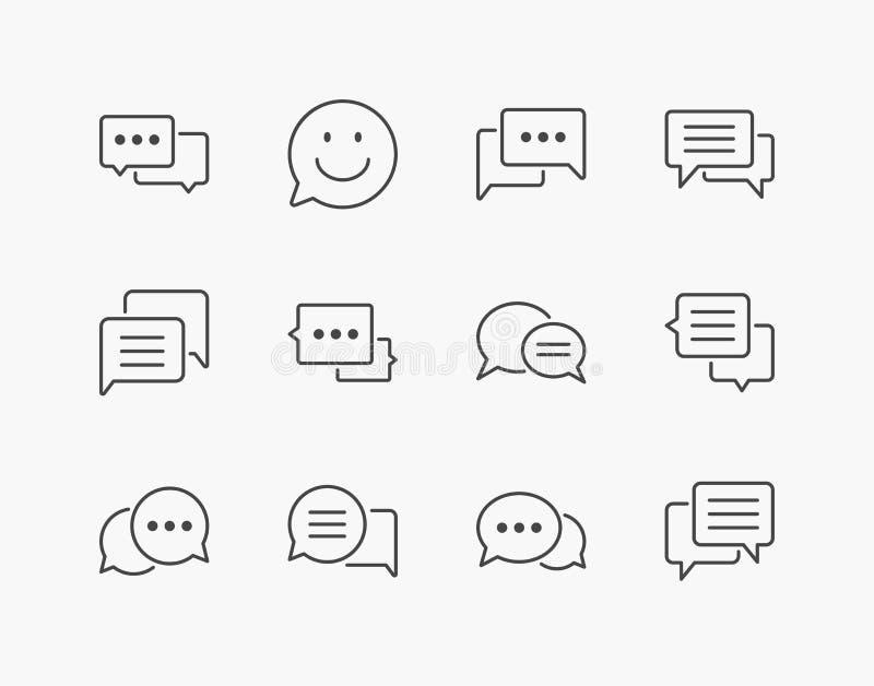 Grupo simples de linha fina ícones da bolha do discurso ilustração royalty free