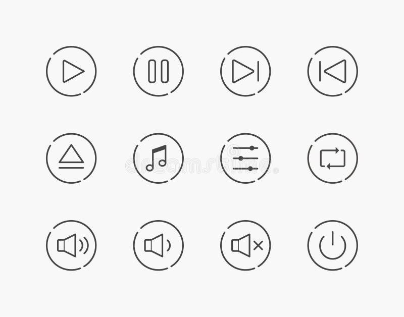 Grupo simples de linha fina ícones do controle do jogo da música ilustração stock
