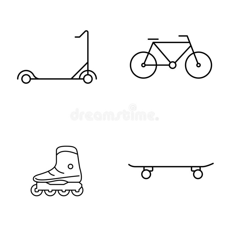 Grupo simples de linha fina ?cones do vetor p?blico Patins e skate de rolo da bicicleta do 'trotinette' ilustração do vetor