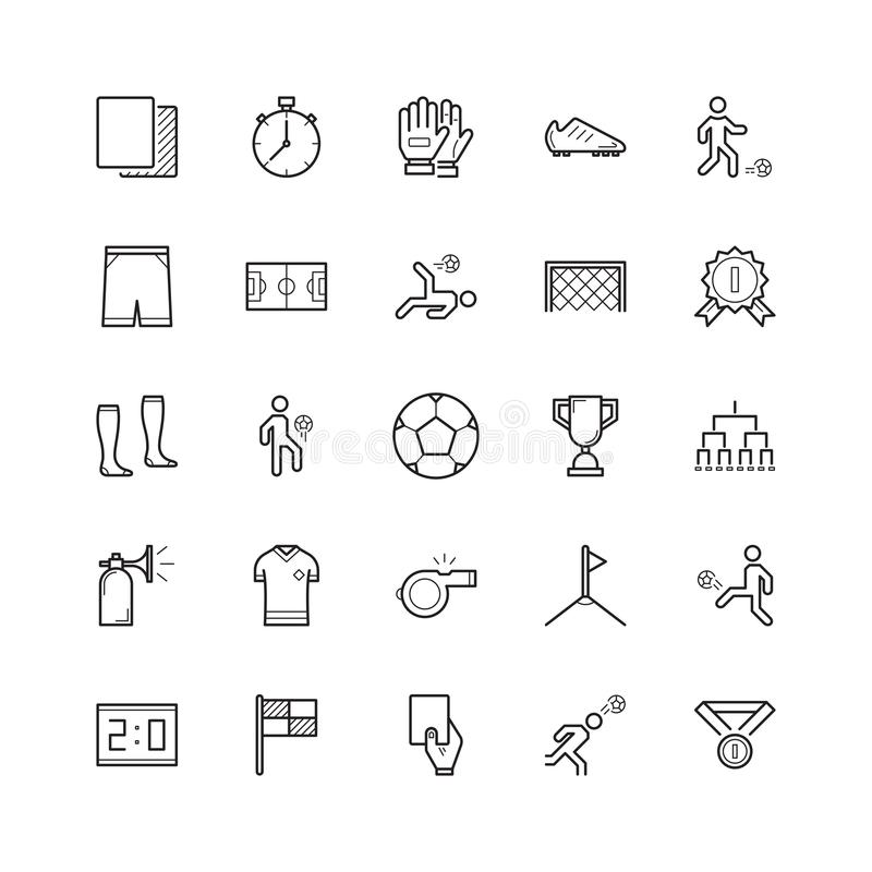 Grupo simples de linha relacionada ícones do vetor do futebol do futebol contenha ilustração do vetor