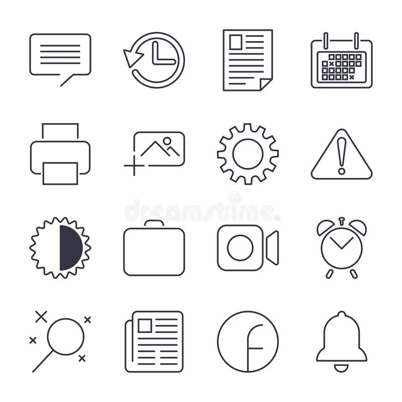 Grupo simples de linha relacionada ?cones do vetor do escrit?rio nContains ícones como a reunião de negócios, local de trabalho,  ilustração royalty free