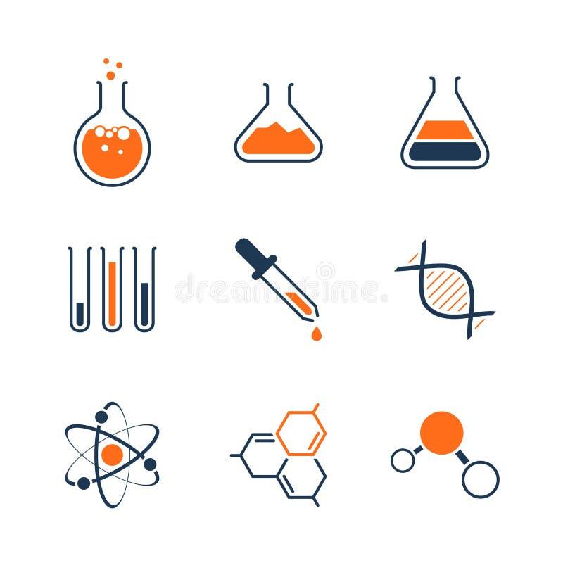 Grupo simples do ícone do vetor da química foto de stock