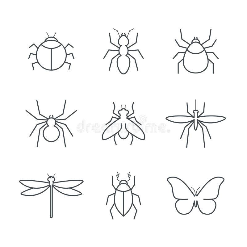 Grupo simples do ícone do vetor do inseto ilustração stock