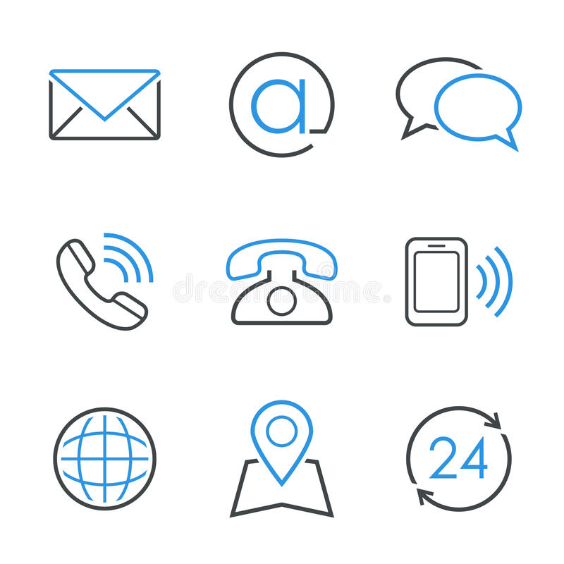 Grupo simples do ícone do vetor dos contatos fotos de stock