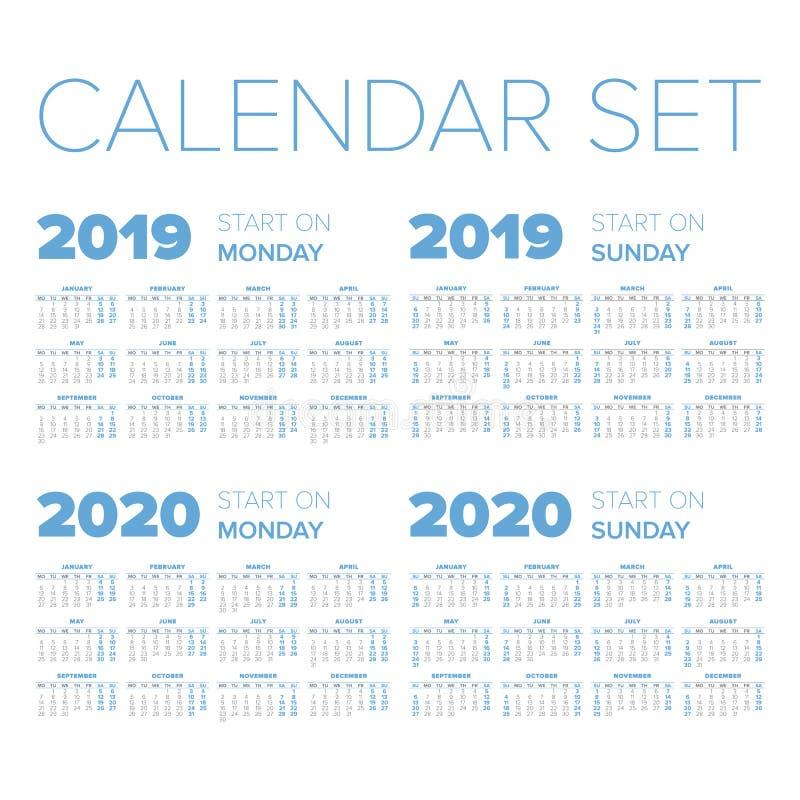 Grupo simples do calendário do ano 2019-2020 ilustração royalty free
