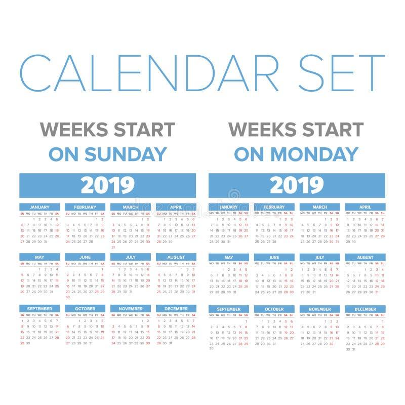 Grupo simples do calendário de 2019 anos ilustração royalty free