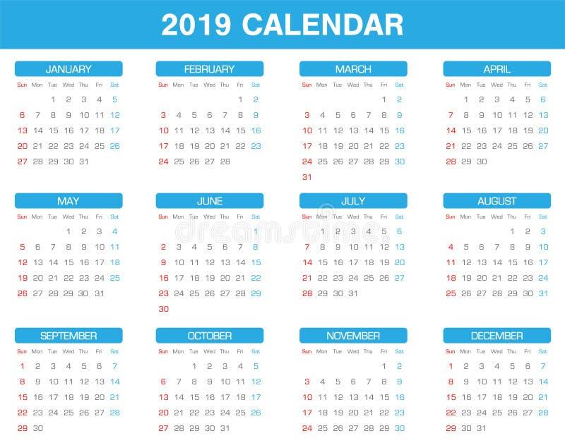 Grupo simples do calendário de 2019 anos de todo o mês ilustração do vetor