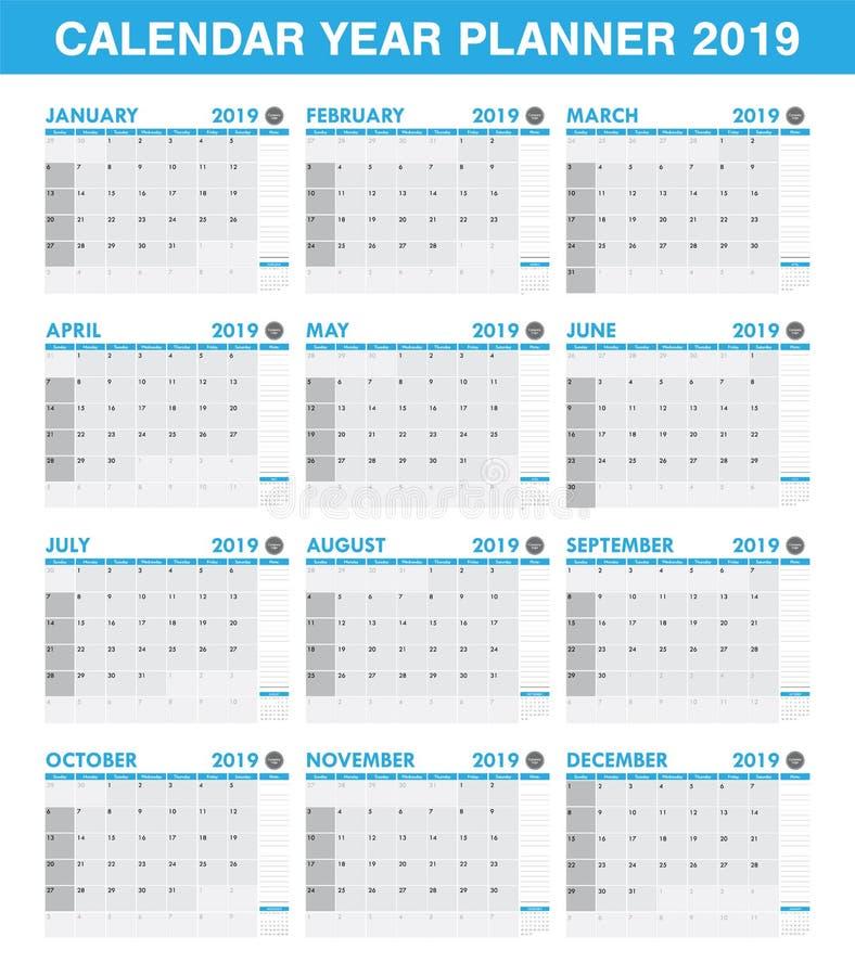 Grupo simples do calendário do planejador de 2019 anos de todo o mês ilustração stock