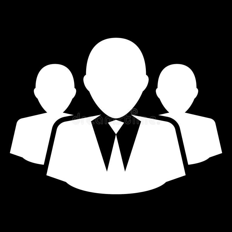 Grupo simples, liso, monocromático/equipe de executivos da silhueta do branco ilustração royalty free