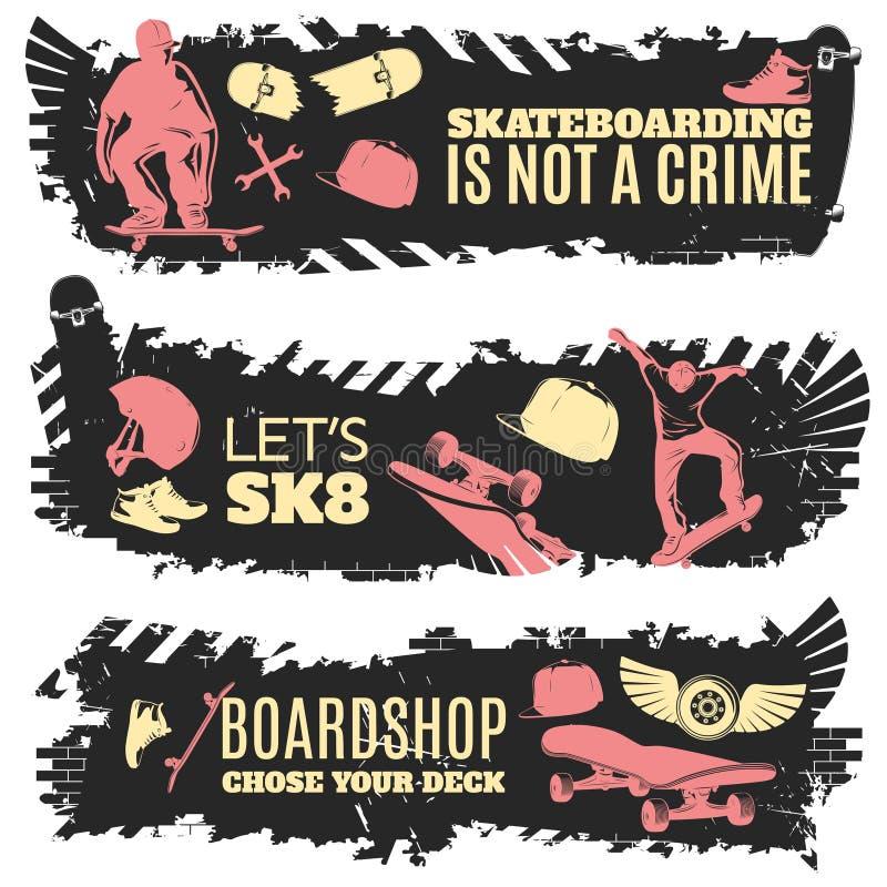 Grupo Skateboarding da bandeira ilustração do vetor