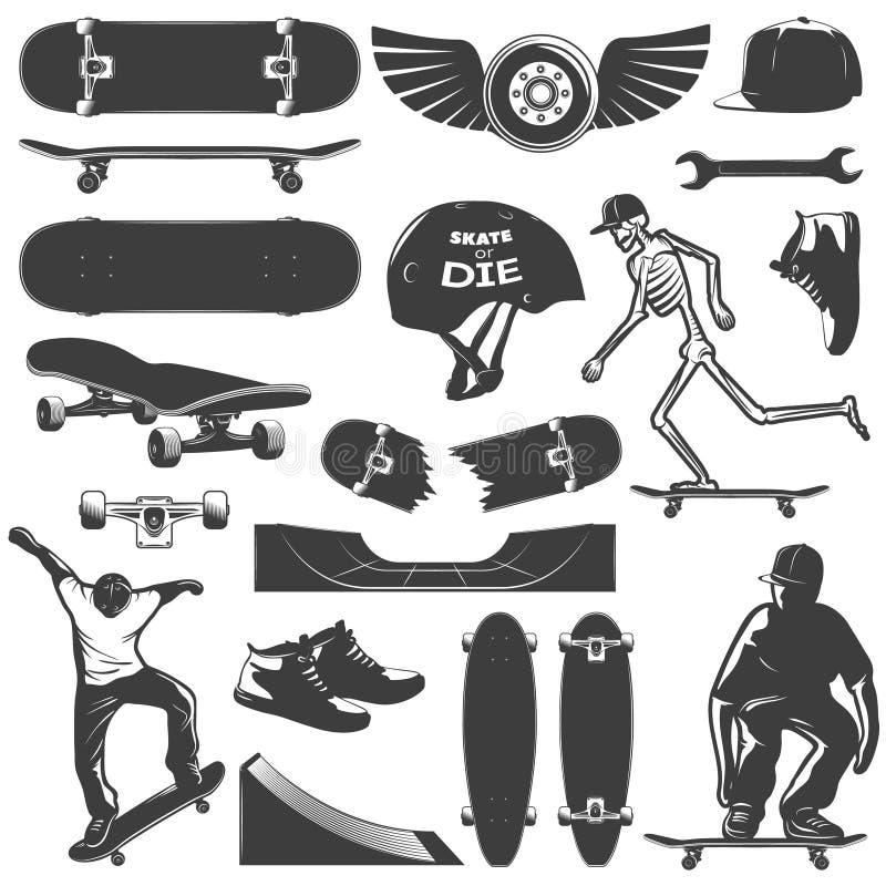 Grupo Skateboarding do ícone ilustração royalty free