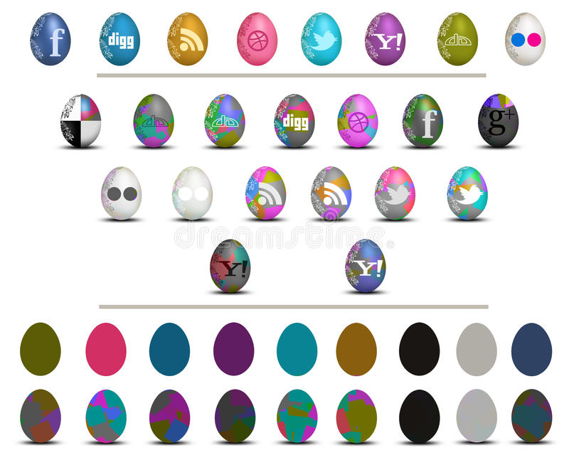 Grupo social colorido do ícone dos ovos da páscoa dos meios isolado no branco ilustração stock