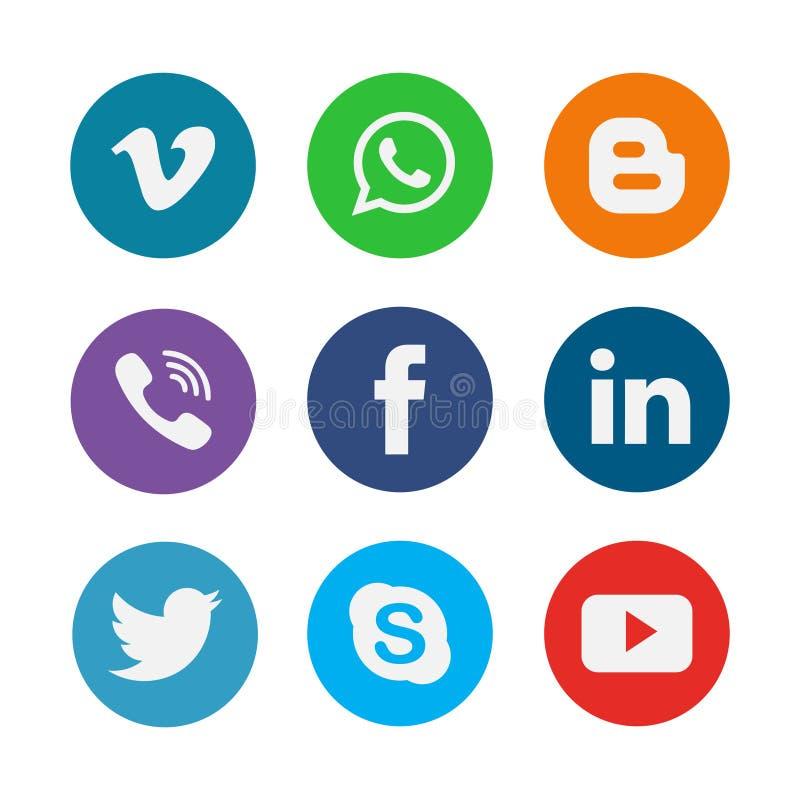 Grupo social da coleção dos ícones dos meios ilustração stock