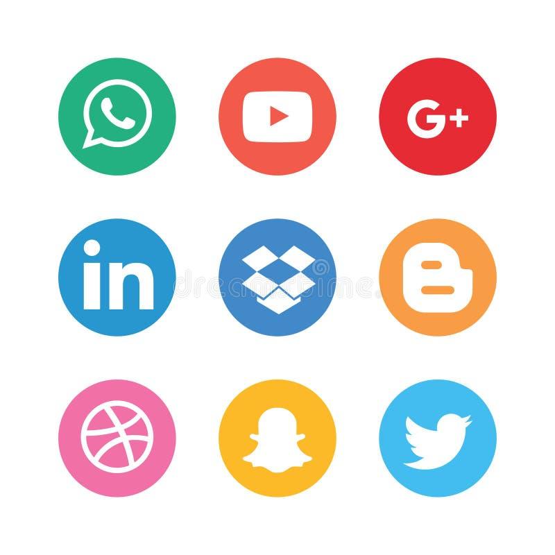 Grupo social da coleção dos ícones dos meios ilustração royalty free