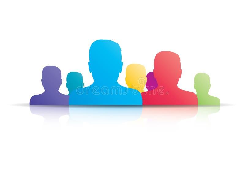 Grupo social do ícone dos meios do usuário do homem de negócios ilustração do vetor