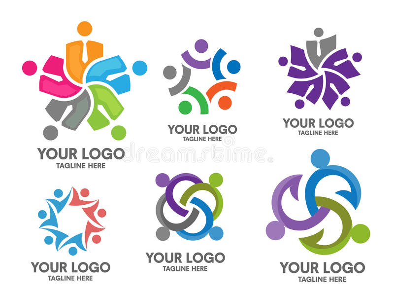 Grupo social do logotipo da comunidade dos povos ilustração stock