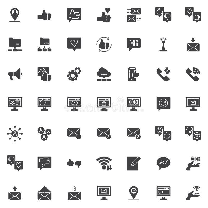 Grupo social dos ícones do vetor de uma comunicação dos meios ilustração royalty free