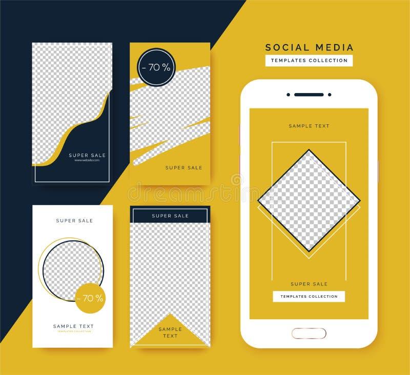 Grupo social dos moldes das hist?rias dos meios Fundos na moda para meios sociais, app do smartphone ilustração do vetor