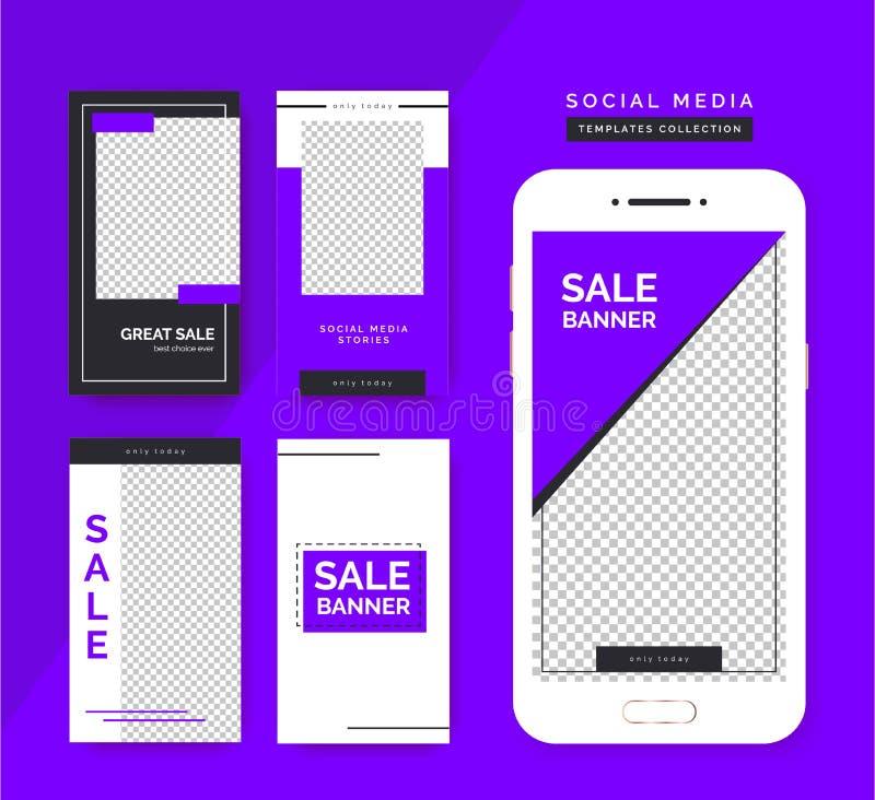 Grupo social dos moldes das hist?rias dos meios Fundos na moda para meios sociais, app do smartphone ilustração stock